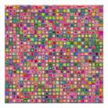 Pink 'Carnations' Textured Mosaic Tiles Pattern Poster