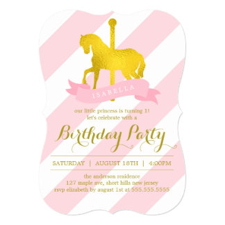 Pink Carousel Horse Birthday Party 13 Cm X 18 Cm Invitation Card