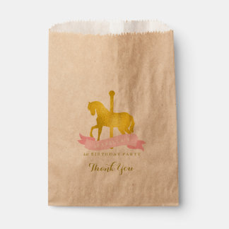 Pink Carousel Horse Birthday Party Favour Bag
