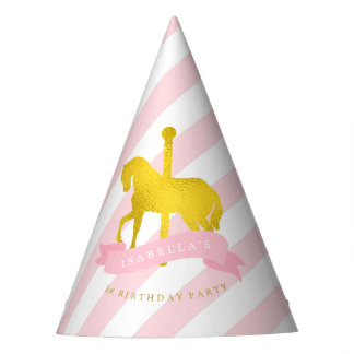 Pink Carousel Horse Girl's Birthday Party Hat