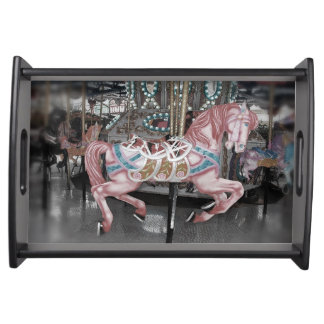 Pink carousel horse serving tray