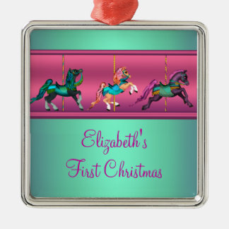 Pink Carousel Teal & Purple Baby's Frist Christmas Silver-Colored Square Decoration