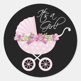 Pink Carriage Baby Round Sticker