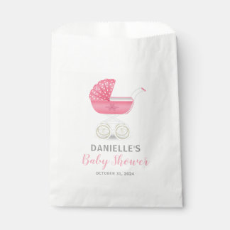 Pink Carriage Baby Shower Candy Favor Bag
