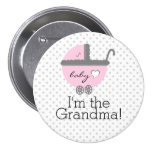 Pink Carriage-Baby Shower Grandma 7.5 Cm Round Badge