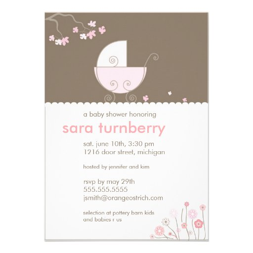 Pink Carriage Baby Shower Invitation