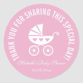 Pink carriage baby shower party favor stickers