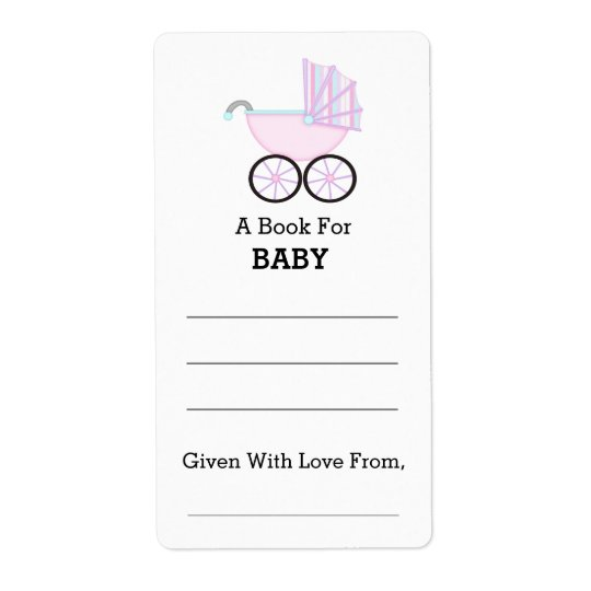 Pink Carriage Girl Baby Shower Bookplate