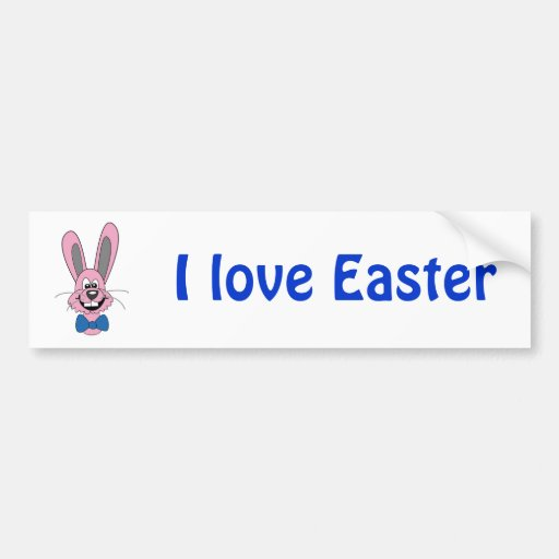 Pink Cartoon Bunny With Blue Bow Tie Bumper Stickers