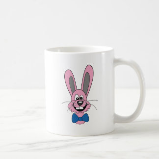 Pink Cartoon Bunny With Blue Bow Tie Classic White Coffee Mug