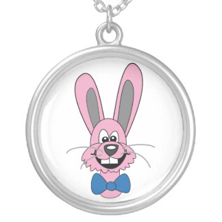 Pink Cartoon Bunny With Blue Bow Tie Round Pendant Necklace