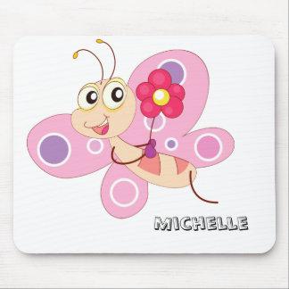 Pink Cartoon Butterfly Mousepad