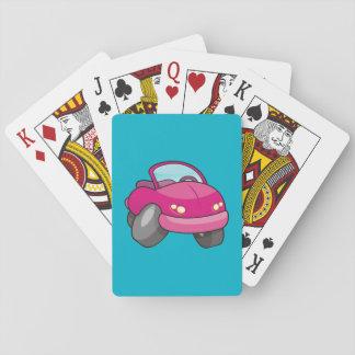 Pink Cartoon Car Poker Deck