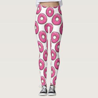 Pink Cartoon Donut with Sprinkles Leggings