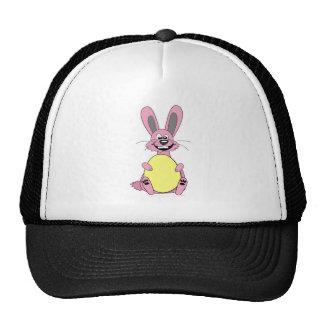 Pink Cartoon Easter Bunny Holding Egg Trucker Hats