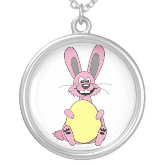 Pink Cartoon Easter Bunny Holding Egg Round Pendant Necklace