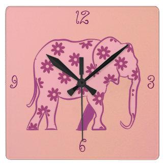 Pink Cartoon Elephant Floral Cute Girly Simple Wallclock