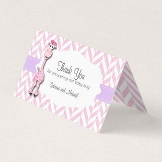 Pink Cartoon Giraffe Baby Shower | Candy Toppers Business Card
