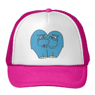 Pink Cartoon Hippos in Love Hat