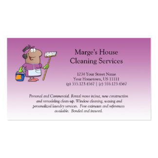 Pink Cartoon Maid House Cleaning Customer Loyalty Pack Of Standard Business Cards