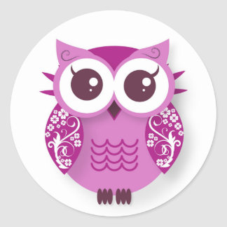 Pink cartoon owl classic round sticker