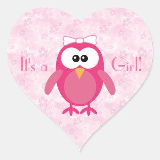 Pink Cartoon Owl & Flowers Its A Girl New Baby Heart Sticker