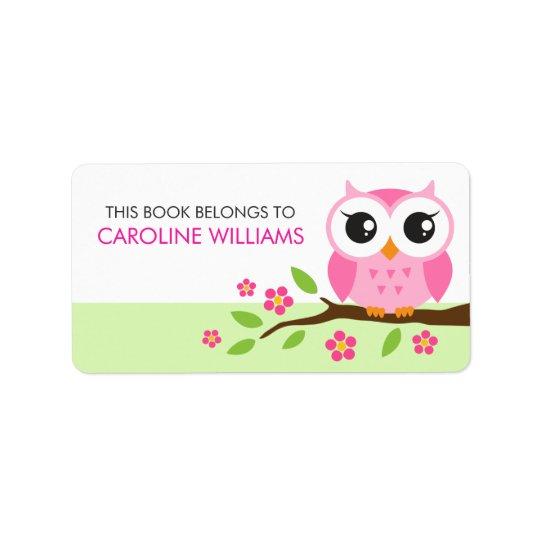 Pink cartoon owl on branch bookplate book label address label