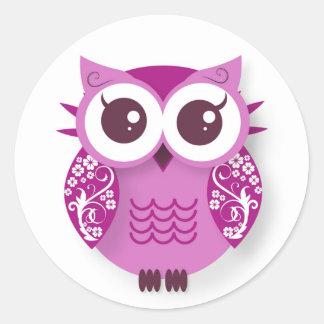 Pink cartoon owl round sticker