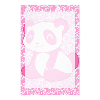 Pink Cartoon Panda Stationery