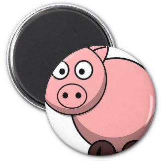 Pink cartoon Piggy 6 Cm Round Magnet