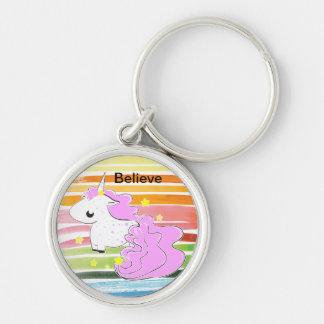Pink cartoon unicorn with stars keychain