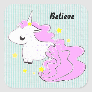 Pink cartoon unicorn with stars sticker