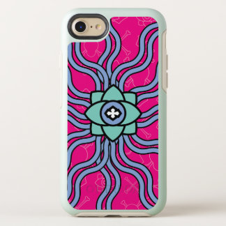 Pink case with flower icon and zigzag lines