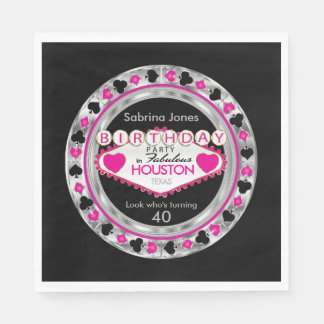 Pink Casino Poker Chip Birthday Party Disposable Napkins