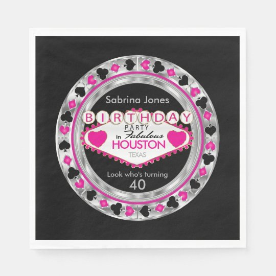 Pink Casino Poker Chip Birthday Party Disposable Serviette