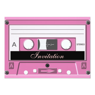 Pink Cassette_ 13 Cm X 18 Cm Invitation Card