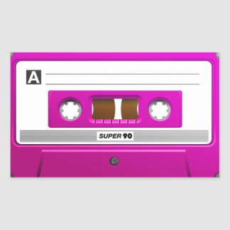 Pink cassette tape rectangular sticker