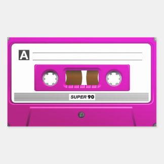 Pink cassette tape rectangular sticker