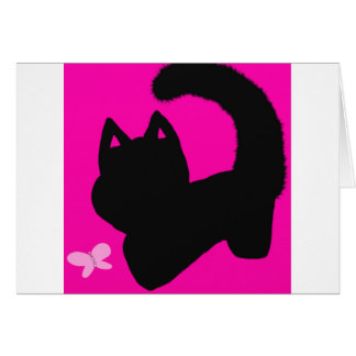 pink cat blank greeting card