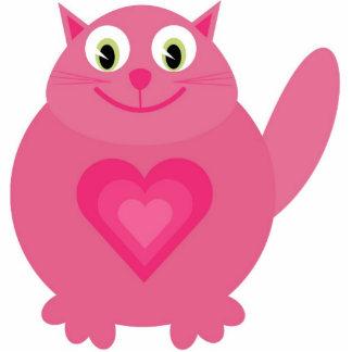 Pink cat brooch photo sculpture badge