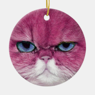 PINK CAT FIERCE LOOK CAT EYES, FUN PINK CAT ROUND CERAMIC DECORATION
