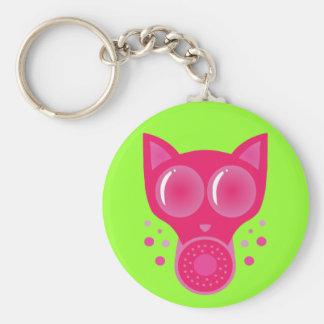 Pink Cat Gas Mask Basic Round Button Key Ring