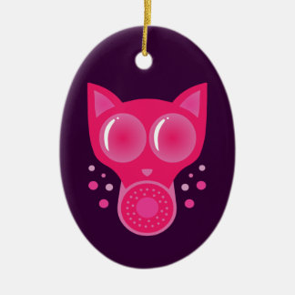 Pink Cat Gas Mask Ceramic Oval Decoration