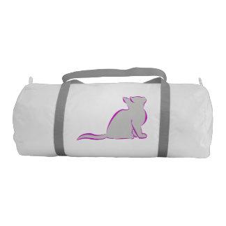 Pink cat, grey fill gym bag
