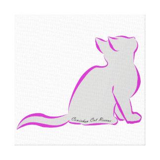 Pink cat, grey fill, inside text canvas print