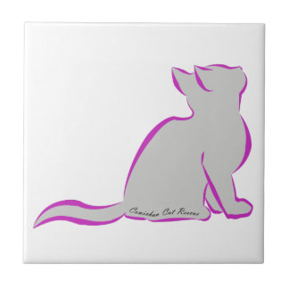 Pink cat, grey fill, inside text ceramic tile