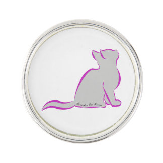 Pink cat, grey fill, inside text lapel pin