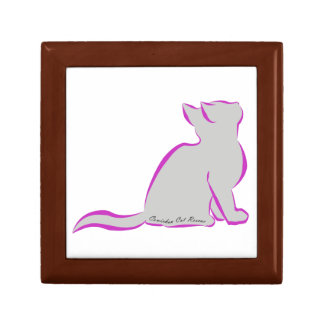 Pink cat, grey fill, inside text small square gift box