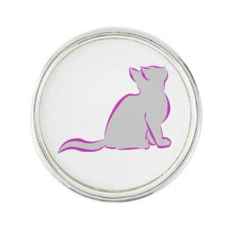 Pink cat, grey fill lapel pin