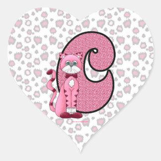 "Pink Cat Monogrammed ""C"" Heart Stickers"